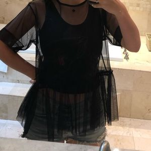 Black Sheer Top with Graphic Tank
